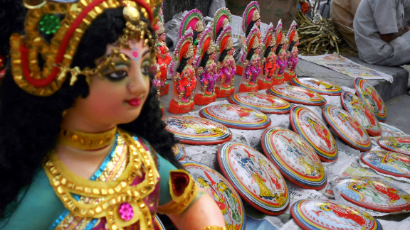 Statues of Hindu goddess Lakshmi, who represents wealth and prosperity.