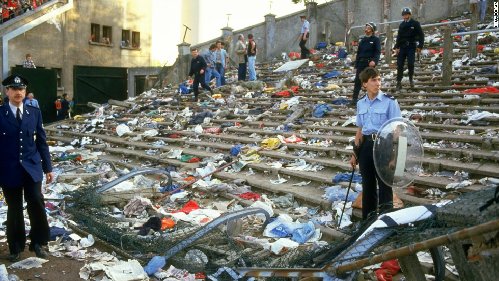 Thirty-nine fans -- 32 from Italy, four from Belgium, two from France, one from Northern Ireland, the youngest just 11 years old -- were killed in a stampede before the European Cup final between Liverpool and Juventus at the Heysel Stadium in May 1985.