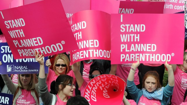 Rally participants support Planned Parenthood at the National Mall in Washington on April 7, 2011.