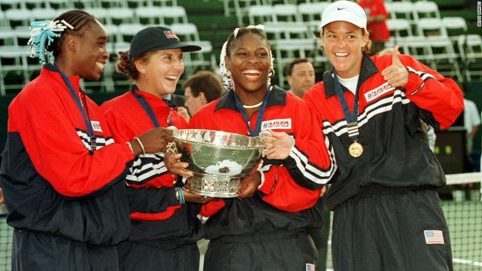 Both Venus and Serena were part of the U.S. team who defeated Russia to clinch the Fed Cup in 1999. Despite their past successes, the U.S. find themselves outside of the leading World Group I for the first time in their history. They played alongside three-time grand slam winner Lindsay Davenport (left) and Monica Seles -- a winner of nine major titles.