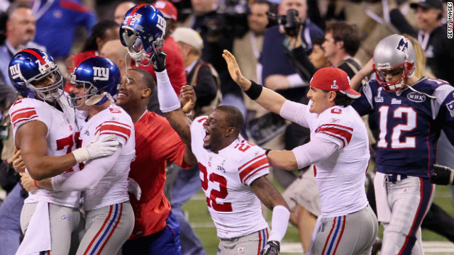 The New York Giants celebrate their 21-17 victory over the New England Patriots in Super Bowl XLVI.