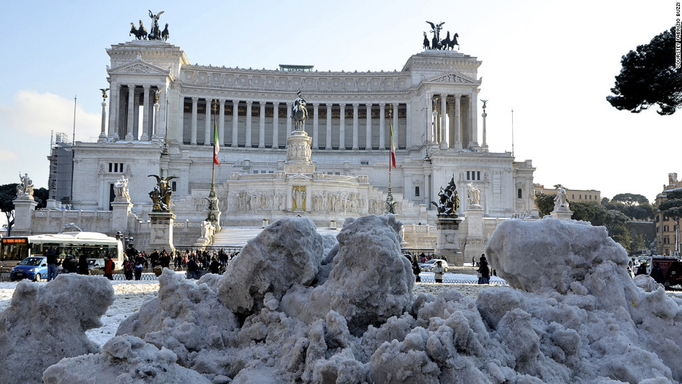 "iReporter Fabrizio Buzzi sent this shot taken in central Rome on Saturday. ""People go out to enjoy the experience as snow is a rare sight in Rome,"" says Buzzi."