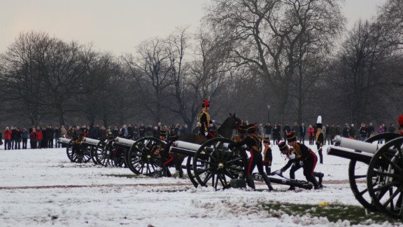 Despite the blistering cold, spectators gather to watch the salute in the picturesque west London park, home to Kensington Palace -- Princess Diana