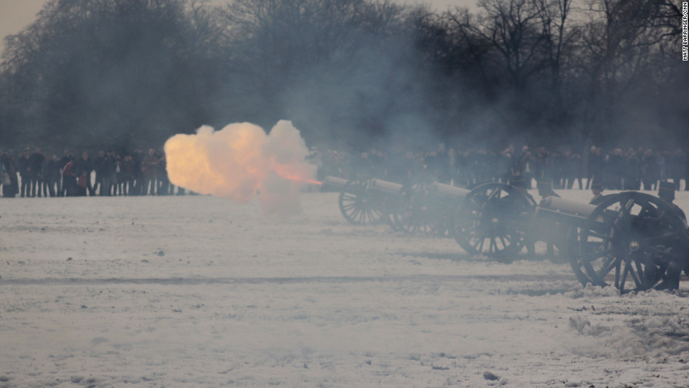 Smoke fills the air and London echoes to the sound of artillery fire as the traditional 41-gun salute come to an end.