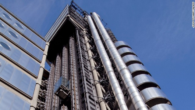 The Lloyd's building elevator in London, England