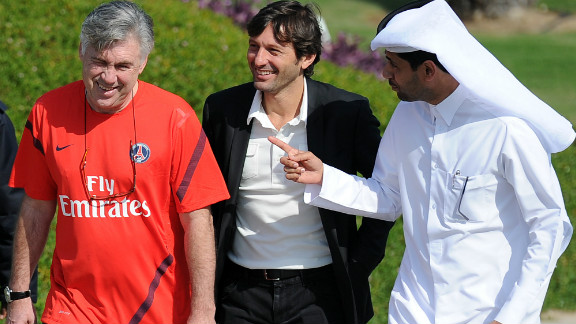 The Qataris have also been busy investing in football abroad. The Qatar Investment Authority bought a majority shareholding in French football club Paris Saint-Germain in May 2011, immediately making it one of the richest teams in Europe. Ex-Milan and Inter coach Leonardo, center, was appointed director of football, while Carlo Ancelotti (left) is now coach.
