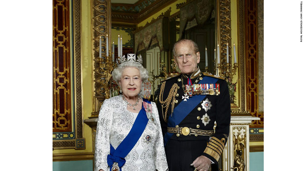 This photograph of the queen and the Duke of Edinburgh was released by Buckingham Palace to mark the Diamond Jubilee.