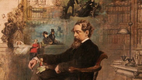 Charles Dickens is depicted by by Robert William Buss sleeping in his study at Gad