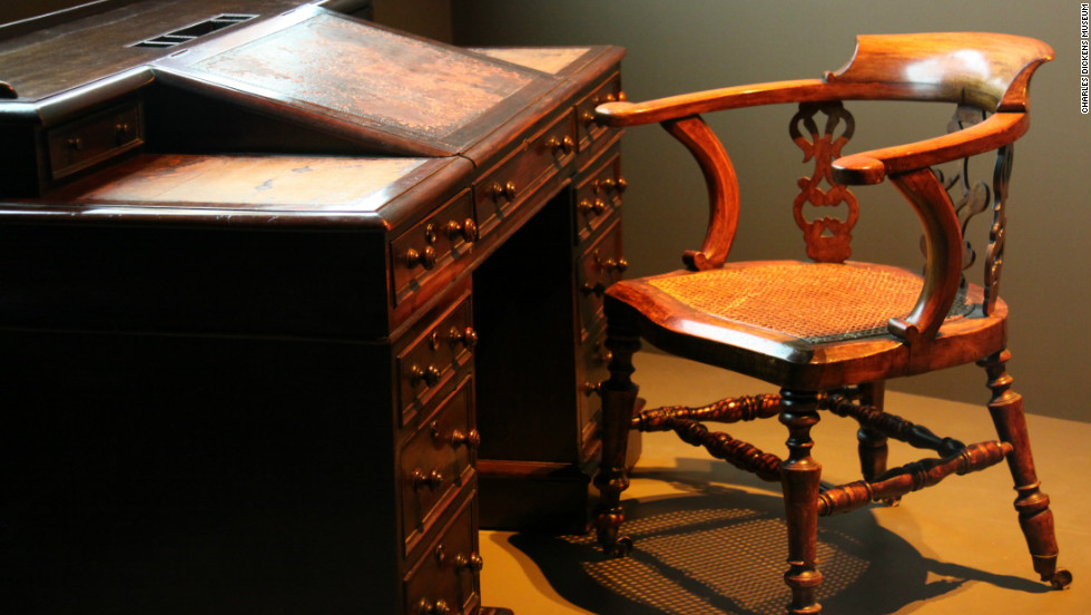The exhibition features the desk that Dickens wrote at.