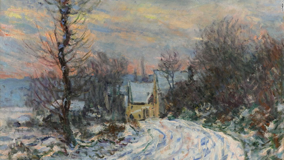 "Claude Monet's ""L'entree de Giverny en hiver,"" is a star lot at Sotheby's Impressionist and Modern Art Evening Sale in London Wednesday.It is expected to fetch between $7 million and $10 million."