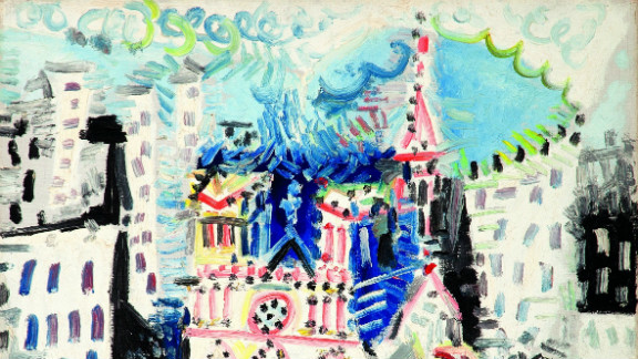 """""""Notre-Dame de Paris,"""" by Pablo Picasso, 1954, also sold at Bonhams for $1.4 million."""