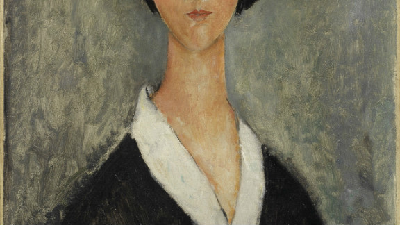 """""""Jeune fille aux cheveux noirs,"""" by Amedeo Modigliani, circa 1918-1919, sold at Bonhams in London Tuesday for $1.3 million."""
