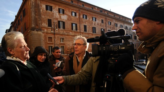 Former Vatican sex abuse commission member Marie Collins speaks to the media in Rome in 2012.