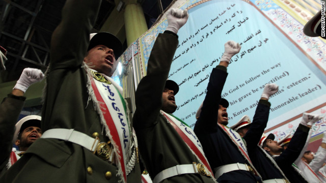 Iranian soldiers chanting anti-Israeli and anti-U.S. slogans at a ceremony in Tehran on February 1.