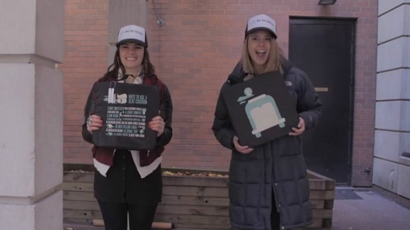 """iReporters Kathleen Fitzgerald and Lizzy Showman designed seat cushions for New York bus drivers to say """"thank you."""""""
