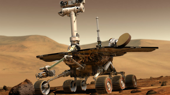 NASA's twin rovers, Spirit and Opportunity, have revealed many secrets of the Red Planet since landing on Mars in January 2004. Spirit stopped communicating in 2010, but Opportunity is still collecting data. This illustration depicts the identical look of both rovers.