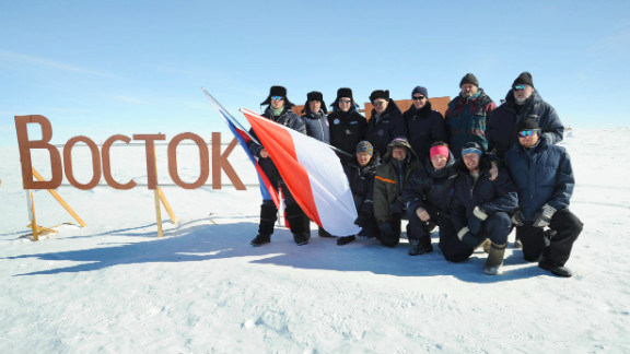 A picture taken on January 17, 2009, shows scientists of Russia's Vostok  research station with a visiting Prince Albert II of Monaco (third from left).