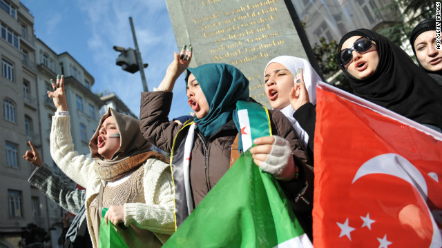 Demonstrators protest in front of the Syrian consulate in Istanbul, Turkey, this week.