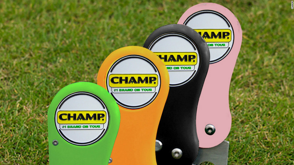 "Available in pink, red, blue, orange, green or black, makers CHAMP say the ""ping"" noise the prongs make as they spring forth on these new divot repairers will thrill you!"