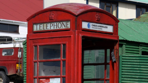 """A red telephone box in Stanley is just one of a number of quintessentially British aspects to island life - the Argentines insist the islands were """"stolen"""" from them by Britain in 1833."""