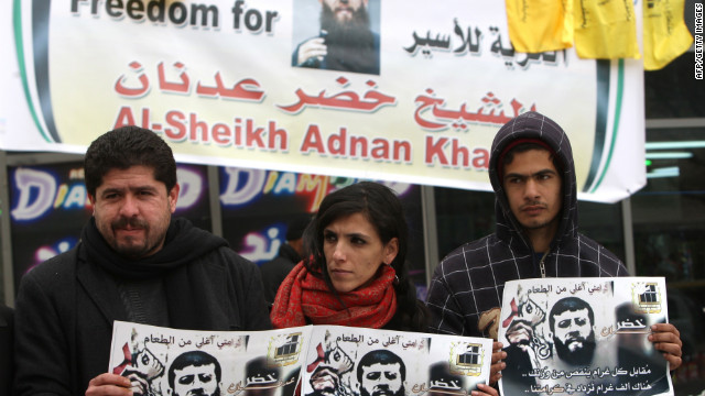 Palestinians in Ramallah, West Bank, support prisoner Khader Adnan, who has been on a hunger strike since December 18.