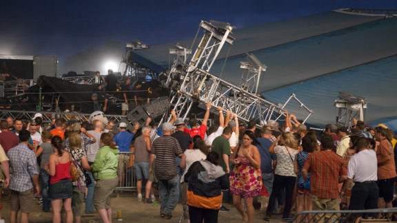 This stage at the Indiana State Fair collapsed in high winds during a storm that swept through Indianapolis on August 13, 2011.