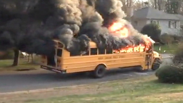 Bus driver saves kids from fire