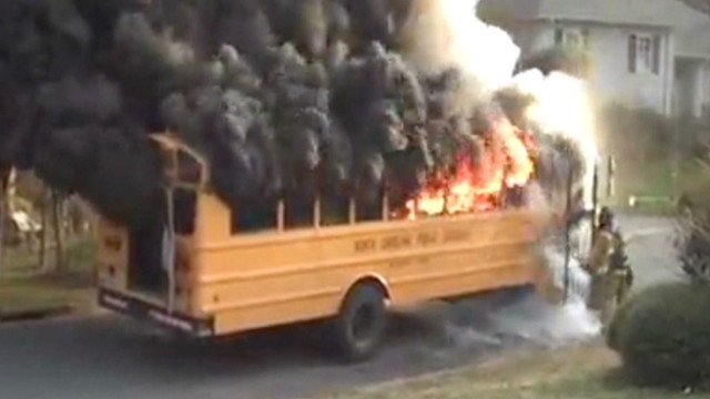 Driver saves kids from burning bus