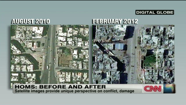 Satellite images show damage in Homs
