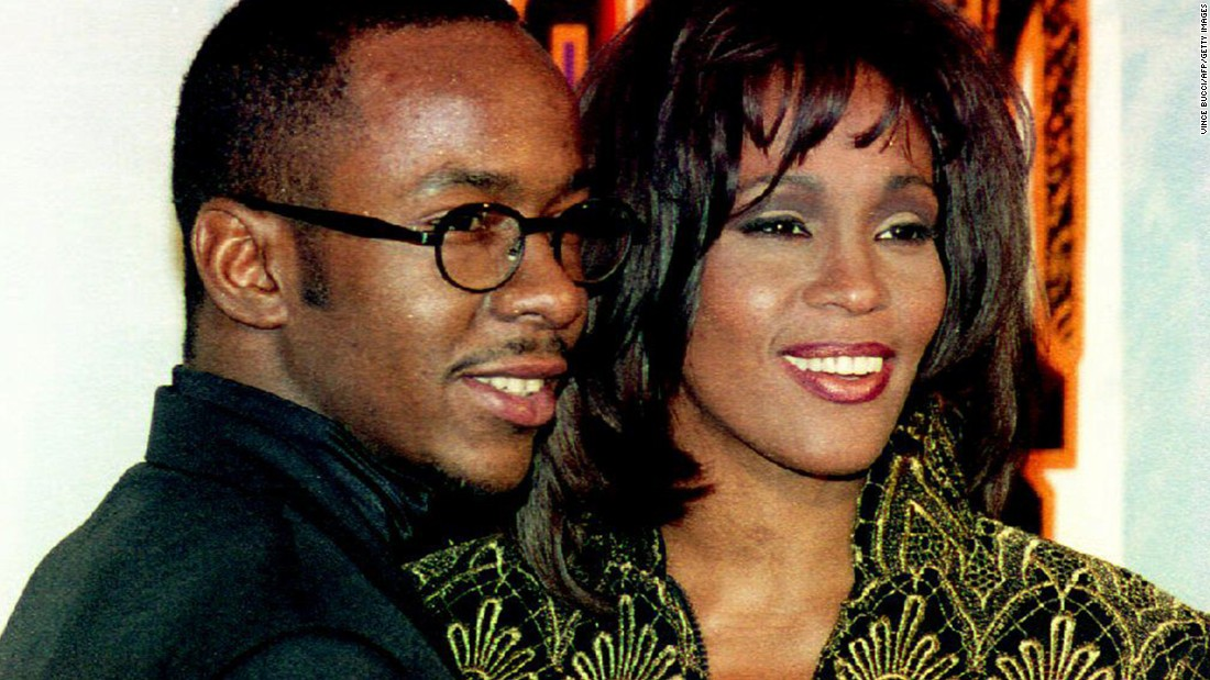 Houston appears with her husband at the time, singer Bobby Brown, at the Soul Train Music Awards in March 1995. Houston received the Sammy Davis Jr. Award for entertainer of the year.
