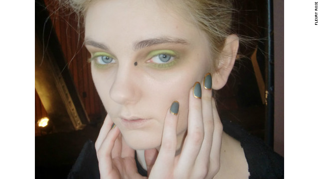 Nail artist Fleury Rose creates a mossy, gold rimmed design for Katie Gallagher's Fashion Week show.