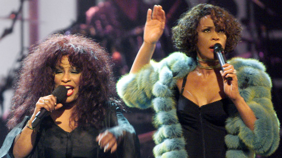"Chaka Khan, left, and Houston perform during the VH1broadcast concert ""Divas Live 99"" at New York"