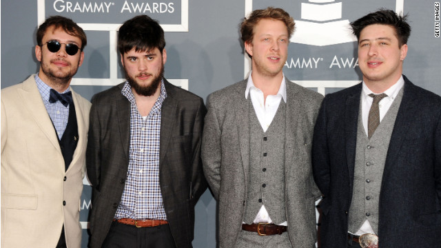 (Left to right) Ben Lovett, Winston Marshall, Ted Dwane, and Marcus Mumford of Mumford & Sons at the 54th Grammy Awards.