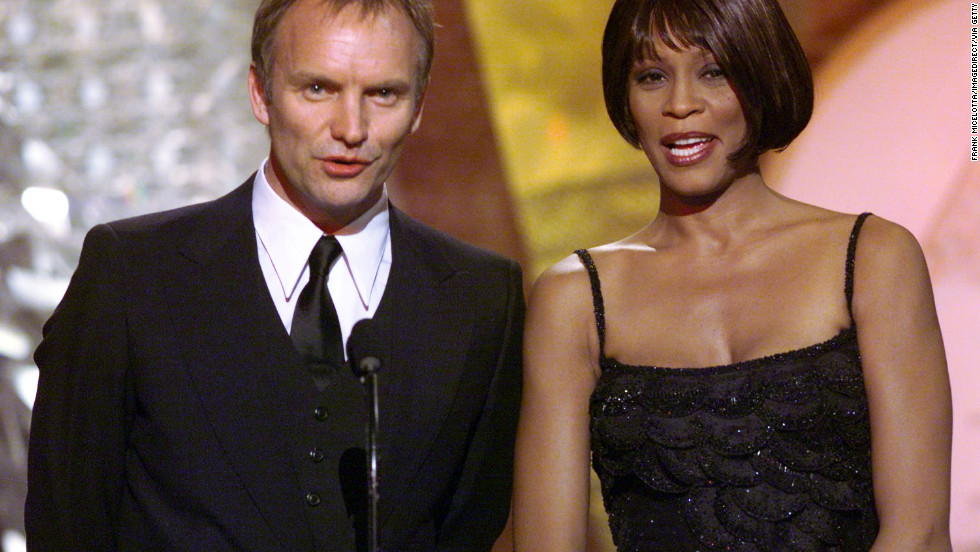 Sting and Whitney Houston appear at the 1999 Grammy Awards in Los Angeles.