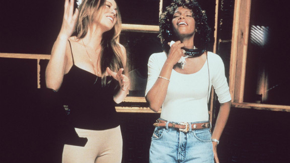 "Mariah Carey, left, and Houston record the song ""When You Believe,"" for the soundtrack of Dreamworks"