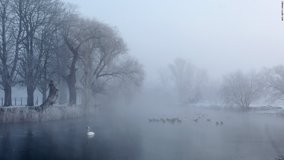 Mist rises from the partially frozen Great Ouse river on February 11, 2012 in Huntingdon, England. The Met Office recorded the coldest temperature so far this winter with -16C registered in Holbeach, Lincolnshire.