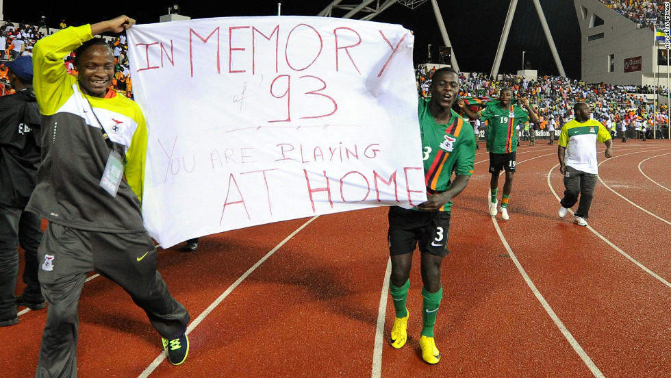 Two of Zambia's players pay tribute to those who lost their lives after the finest hour in Zambia's footballing history.