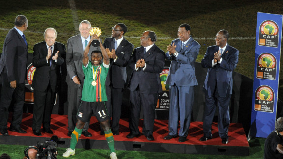 Zambia captain Christopher Katongo holds the Africa Cup of Nations trophy aloft after his team