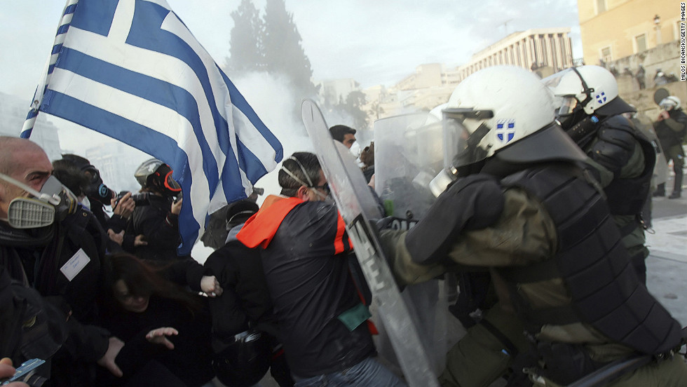 "Violent protests erupted in <strong>Greece</strong> after the country introduced harsh austerity measures in return for a government bailout. It took two elections this summer to <a href=""http://www.cnn.com/2012/06/20/world/europe/greece-election/index.html"">form a coalition government</a> that must lift the country from its crippling debt."