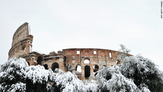 The Colosseum in Rome, and sites in the historic walled town of Urbino, have suffered damage due to unprecedented snow-fall