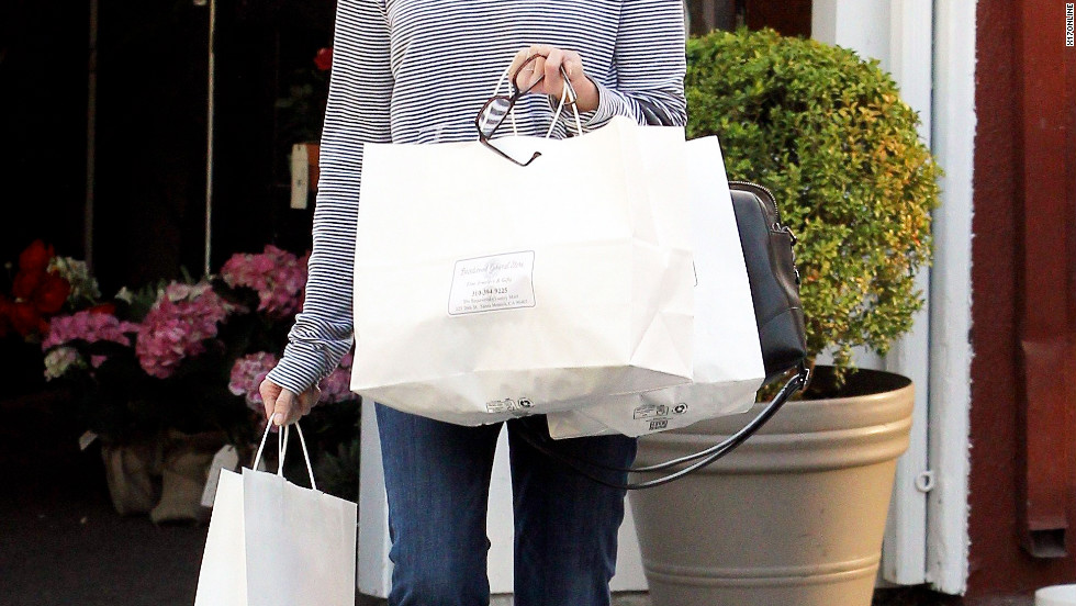 Marcia Cross goes shopping in Brentwood.