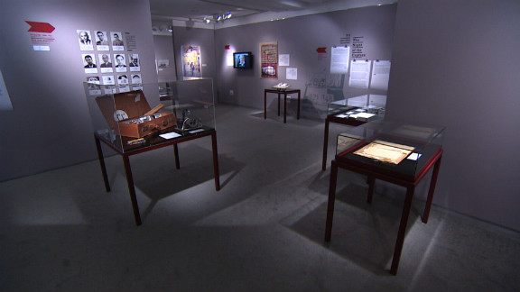 """Exhibit at the Museum of the Jewish People """"Operation Finale: The Story of the Capture of Eichmann."""" To bring Adolf Eichmann to justice, 11 agents traveled to Argentina, where Eichmann was thought to be hiding."""