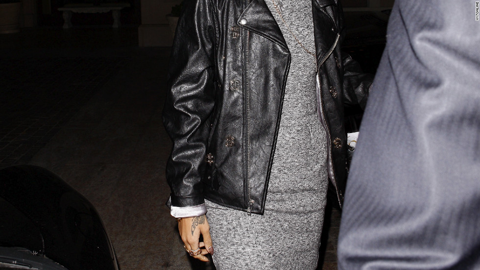 Rihanna leaves a restaurant in West Hollywood.