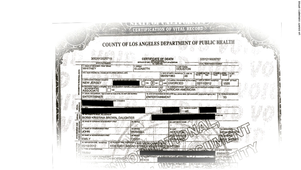 Houstons Death Certificate Released Cnn Video