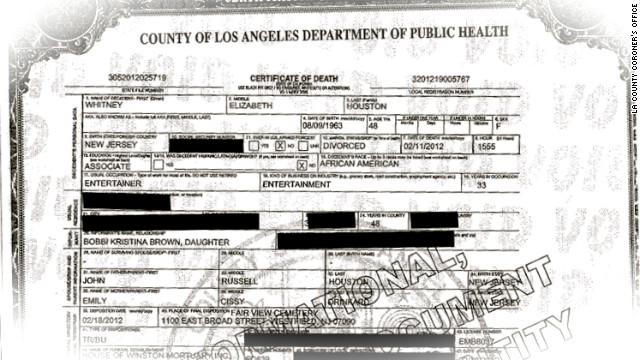 Houston's death certificate released