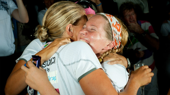 Helen Leigh (right) and Debbie Beale (left) celebrate their double record breaking achievement upon arriving in St Charles, Barbados.