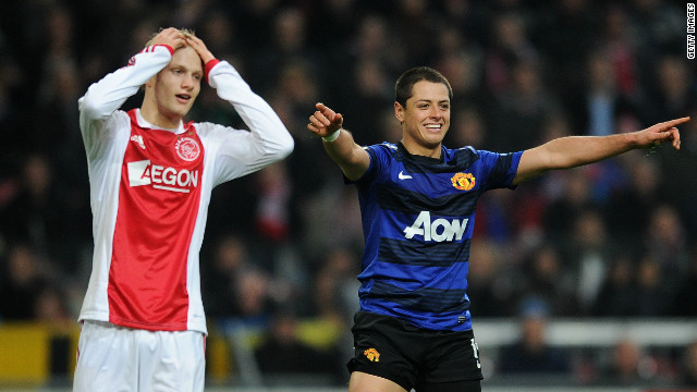 Manchester United's Mexican striker Javier Hernandez celebrates his goal against Dutch side Ajax