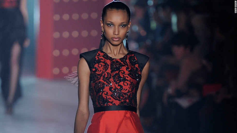 Almost every collection during New York Fashion Week featured a signature red dress, and this one from Jason Wu, which also incorporates lace and shimmering accents, is no exception.