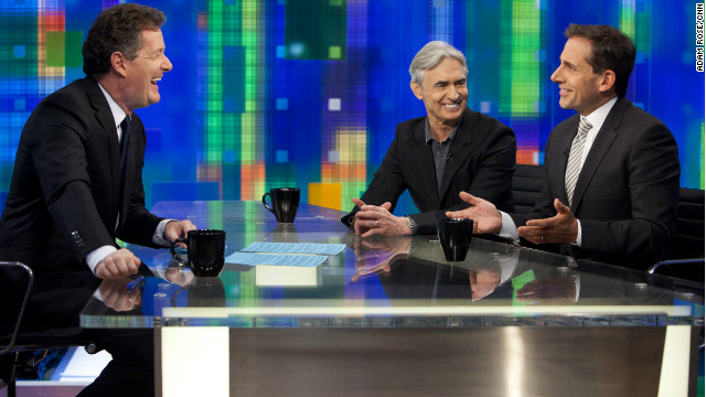 "Steve Carell (right) and David Steinberg are guests on Monday's ""Piers Morgan Tonight"""