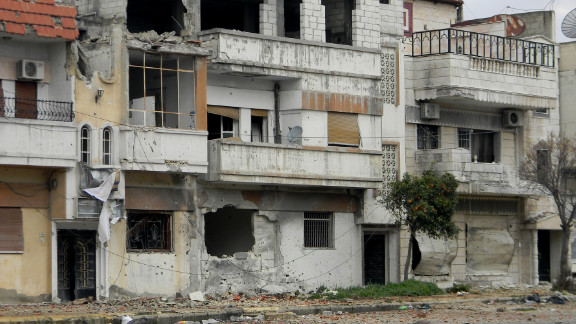 Houses reportedly damaged by shelling from government forces in the Baba Amr neighborhood of Homs, photographed on February 11,.